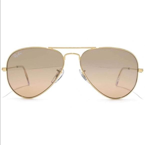 e89f5567ab2 Ray-Ban Aviator Gold Frame Brown Light Pink Lens. M 5a93616d3800c578108d1f7a